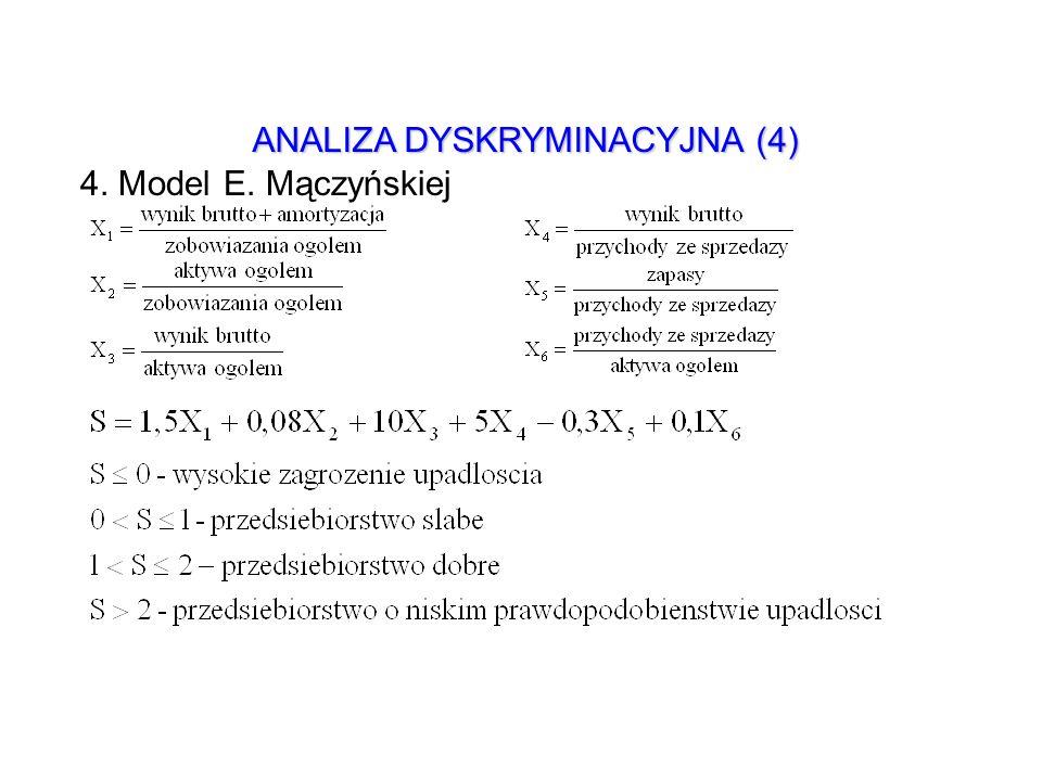 ANALIZA DYSKRYMINACYJNA (4) 4. Model E. Mączyńskiej