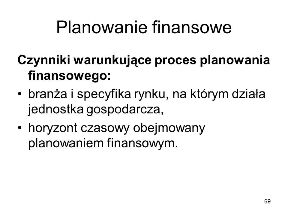 69 Planowanie finansowe Czynniki warunkujące proces planowania finansowego: branża i specyfika rynku, na którym działa jednostka gospodarcza, horyzont