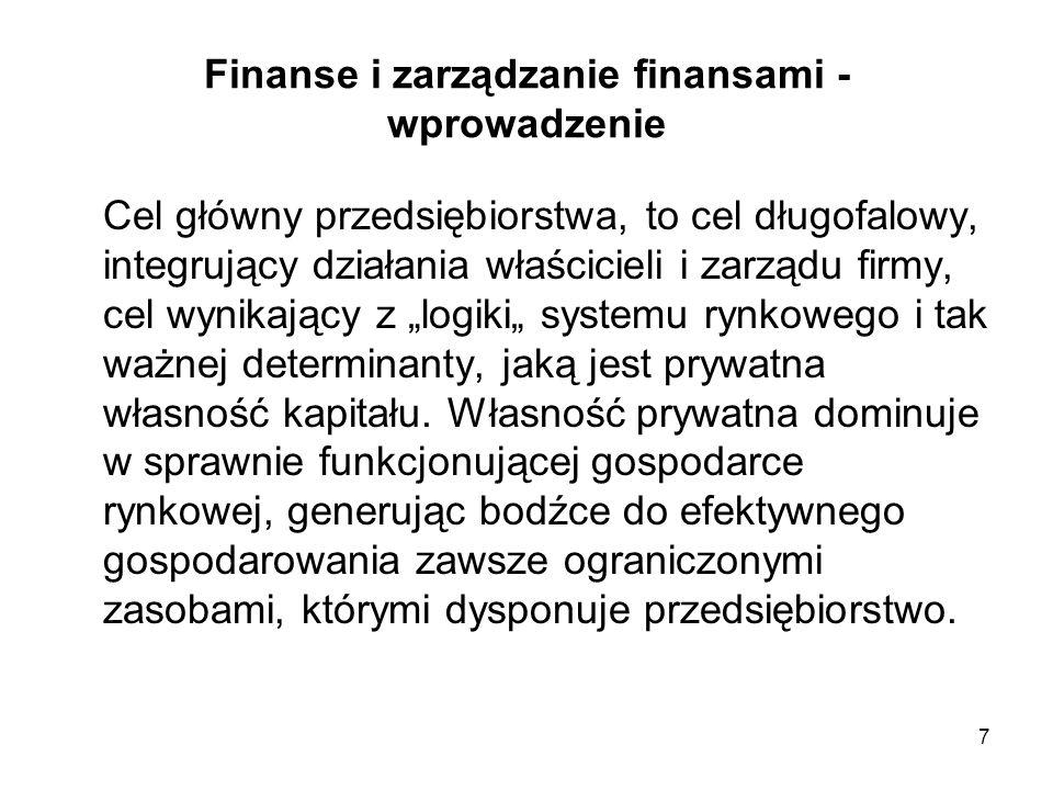8 Finanse i zarządzanie finansami - wprowadzenie Głównym długofalowym celem przedsiębiorstwa w gospodarce rynkowej jest maksymalizacja wartości majątku właściciela przedsiębiorstwa, co w praktyce sprowadza się do maksymalizacji wartości firmy.