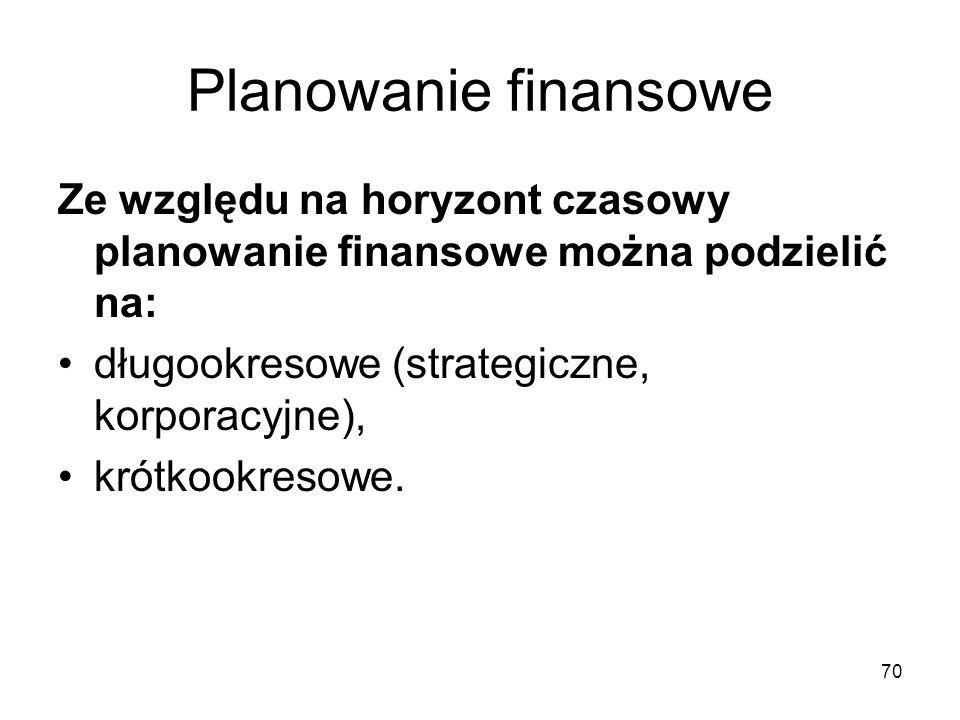 70 Planowanie finansowe Ze względu na horyzont czasowy planowanie finansowe można podzielić na: długookresowe (strategiczne, korporacyjne), krótkookre