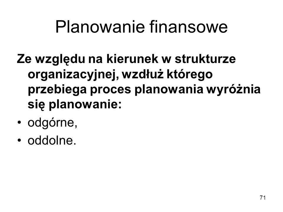 71 Planowanie finansowe Ze względu na kierunek w strukturze organizacyjnej, wzdłuż którego przebiega proces planowania wyróżnia się planowanie: odgórn