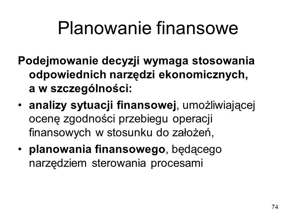 74 Planowanie finansowe Podejmowanie decyzji wymaga stosowania odpowiednich narzędzi ekonomicznych, a w szczególności: analizy sytuacji finansowej, um