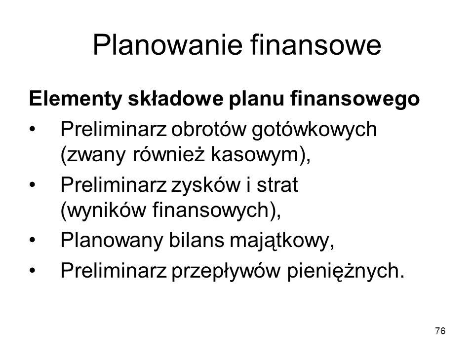 76 Planowanie finansowe Elementy składowe planu finansowego Preliminarz obrotów gotówkowych (zwany również kasowym), Preliminarz zysków i strat (wynik