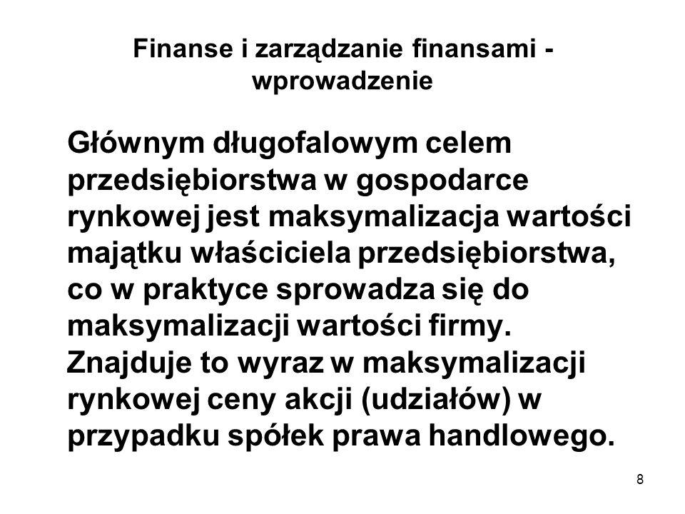 9 Finanse i zarządzanie finansami - wprowadzenie Zgodnie z powyższym celem zarząd firmy musi poszukiwać takiej kombinacji poziomu akceptowanego ryzyka i oczekiwanych zysków, która maksymalizowałaby wartość firmy.