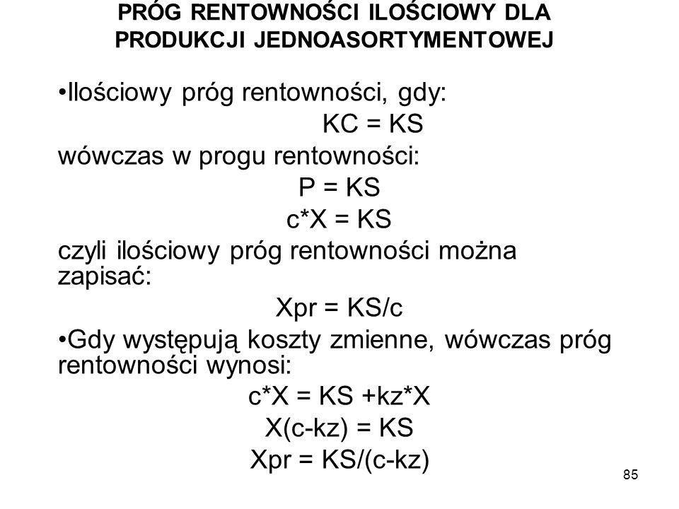 85 PRÓG RENTOWNOŚCI ILOŚCIOWY DLA PRODUKCJI JEDNOASORTYMENTOWEJ Ilościowy próg rentowności, gdy: KC = KS wówczas w progu rentowności: P = KS c*X = KS