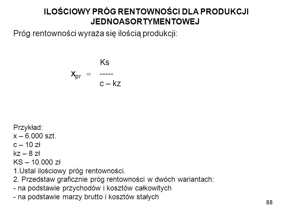 88 ILOŚCIOWY PRÓG RENTOWNOŚCI DLA PRODUKCJI JEDNOASORTYMENTOWEJ Próg rentowności wyraża się ilością produkcji: Ks x pr ----- c – kz Przykład: x – 6.00
