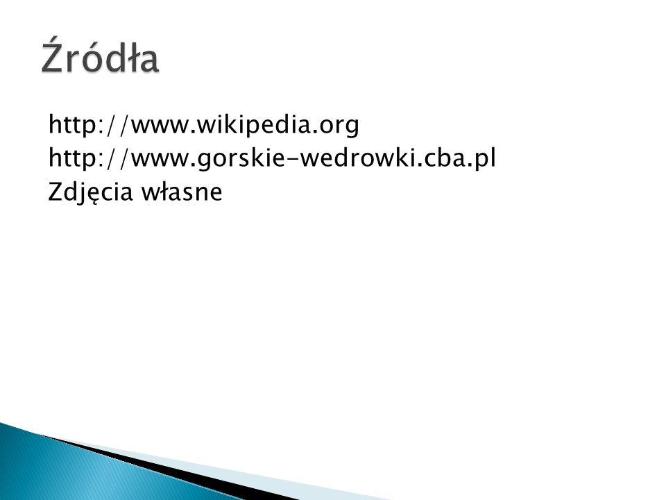 http://www.wikipedia.org http://www.gorskie-wedrowki.cba.pl Zdjęcia własne