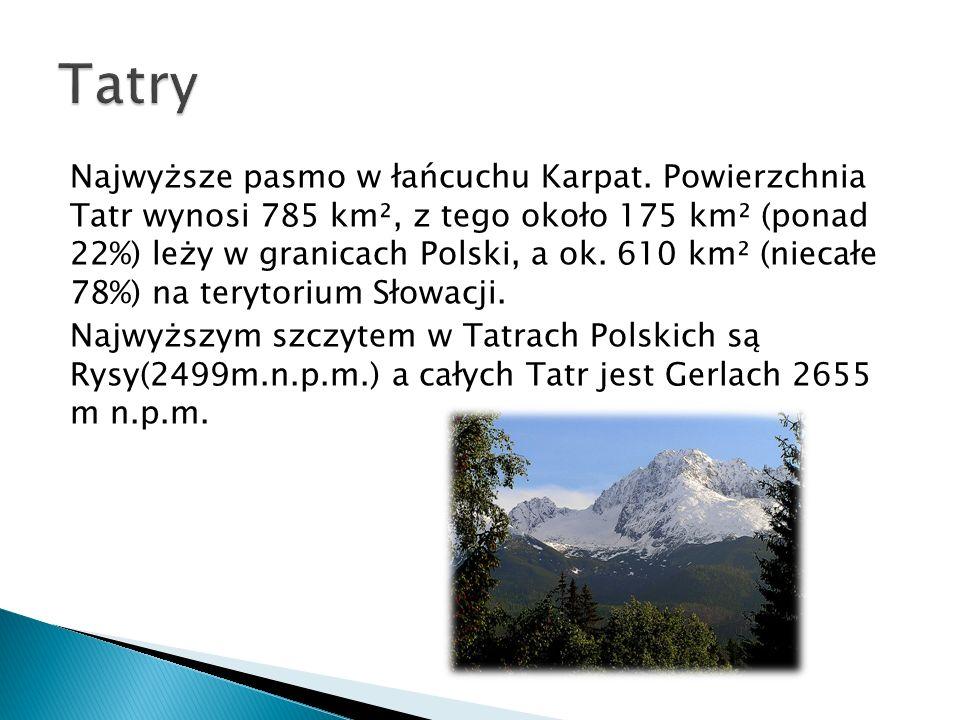 Najwyższe pasmo w łańcuchu Karpat. Powierzchnia Tatr wynosi 785 km², z tego około 175 km² (ponad 22%) leży w granicach Polski, a ok. 610 km² (niecałe