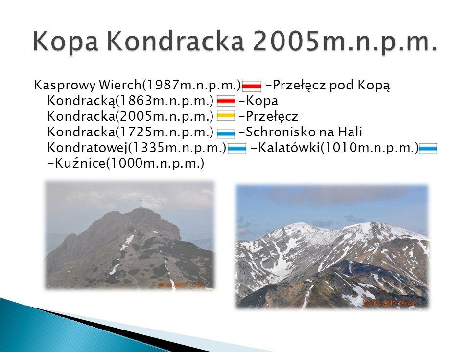 Kasprowy Wierch(1987m.n.p.m.) -Przełęcz pod Kopą Kondracką(1863m.n.p.m.) -Kopa Kondracka(2005m.n.p.m.) -Przełęcz Kondracka(1725m.n.p.m.) -Schronisko n