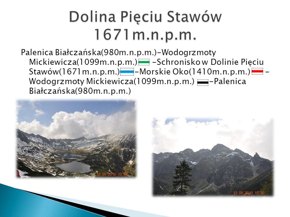 Palenica Białczańska(980m.n.p.m.)-Wodogrzmoty Mickiewicza(1099m.n.p.m.) -Schronisko w Dolinie Pięciu Stawów(1671m.n.p.m.) -Morskie Oko(1410m.n.p.m.) -