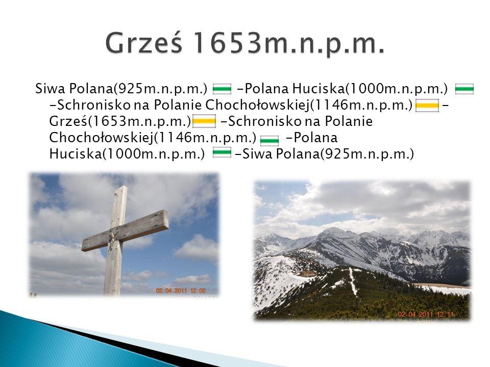 Siwa Polana(925m.n.p.m.) -Polana Huciska(1000m.n.p.m.) -Schronisko na Polanie Chochołowskiej(1146m.n.p.m.) - Grześ(1653m.n.p.m.) -Schronisko na Polani