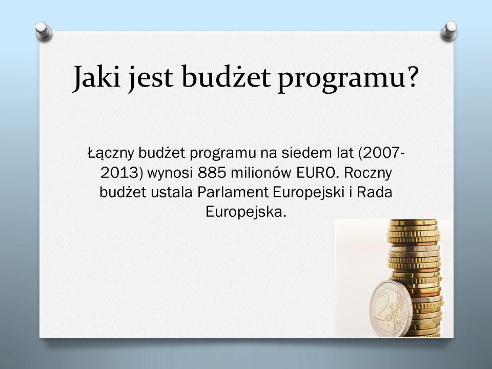 Jaki jest budżet programu? Łączny budżet programu na siedem lat (2007- 2013) wynosi 885 milionów EURO. Roczny budżet ustala Parlament Europejski i Rad