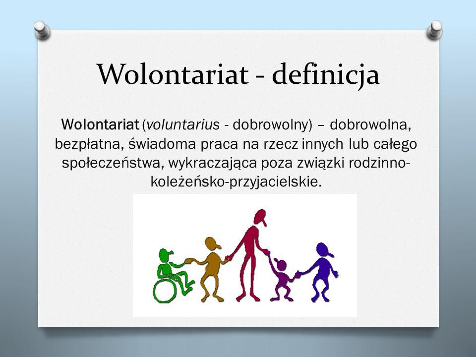 Wolontariat - definicja Wolontariat (voluntarius - dobrowolny) – dobrowolna, bezpłatna, świadoma praca na rzecz innych lub całego społeczeństwa, wykra