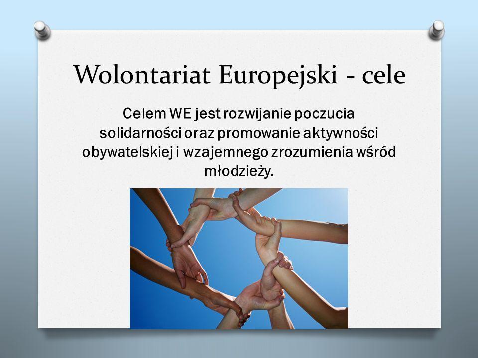 Wolontariat Europejski - cele Celem WE jest rozwijanie poczucia solidarności oraz promowanie aktywności obywatelskiej i wzajemnego zrozumienia wśród m