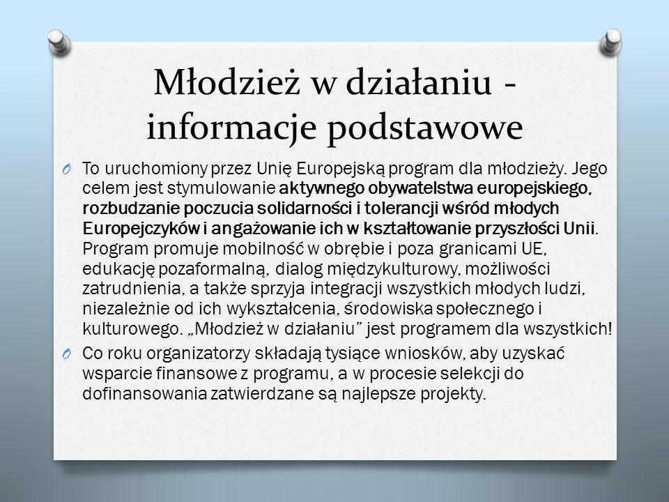 Młodzież w działaniu - informacje podstawowe O To uruchomiony przez Unię Europejską program dla młodzieży. Jego celem jest stymulowanie aktywnego obyw