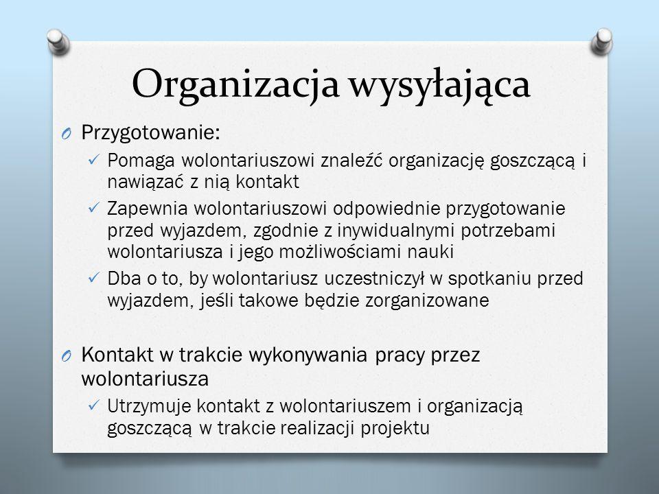 Organizacja wysyłająca O Przygotowanie: Pomaga wolontariuszowi znaleźć organizację goszczącą i nawiązać z nią kontakt Zapewnia wolontariuszowi odpowie