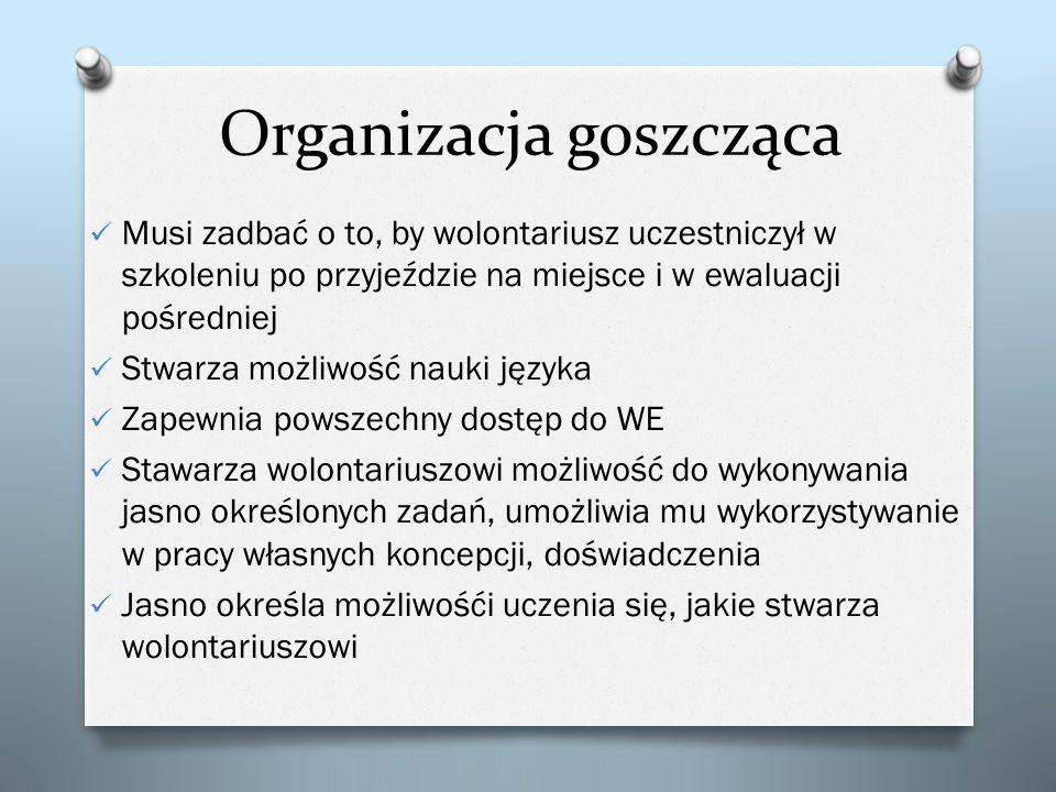 Organizacja goszcząca Musi zadbać o to, by wolontariusz uczestniczył w szkoleniu po przyjeździe na miejsce i w ewaluacji pośredniej Stwarza możliwość