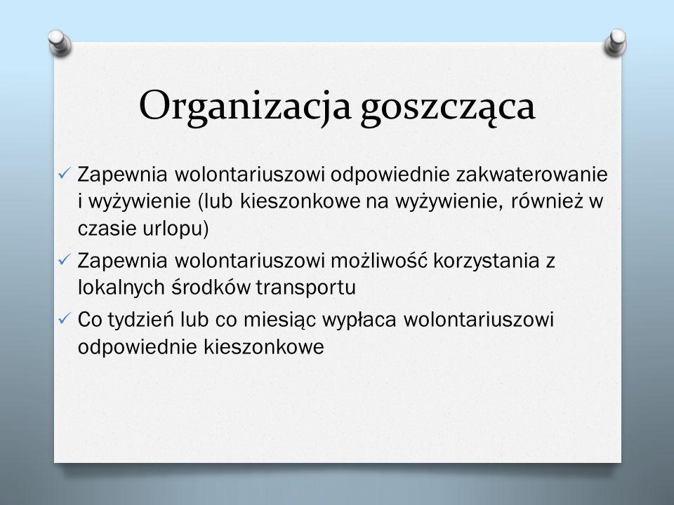 Organizacja goszcząca Zapewnia wolontariuszowi odpowiednie zakwaterowanie i wyżywienie (lub kieszonkowe na wyżywienie, również w czasie urlopu) Zapewn
