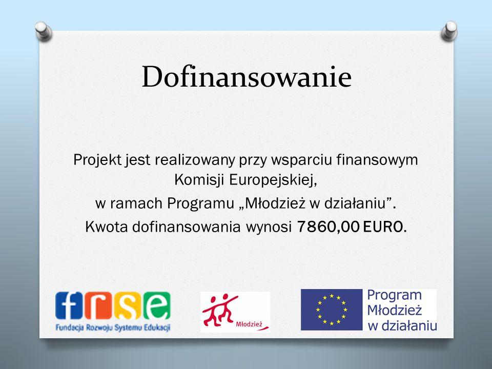 Dofinansowanie Projekt jest realizowany przy wsparciu finansowym Komisji Europejskiej, w ramach Programu Młodzież w działaniu. Kwota dofinansowania wy