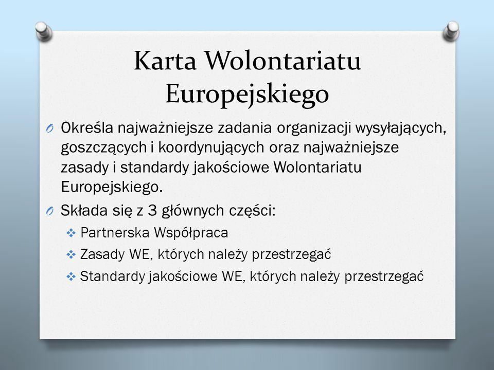 Karta Wolontariatu Europejskiego O Określa najważniejsze zadania organizacji wysyłających, goszczących i koordynujących oraz najważniejsze zasady i st