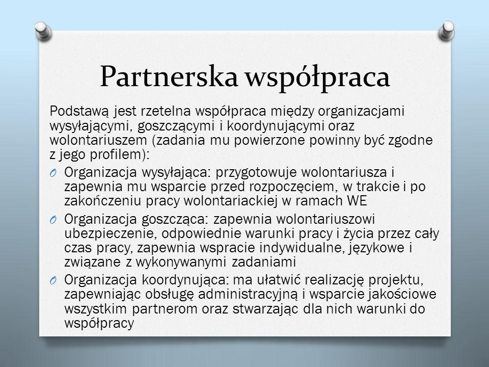 Partnerska współpraca Podstawą jest rzetelna współpraca między organizacjami wysyłającymi, goszczącymi i koordynującymi oraz wolontariuszem (zadania m
