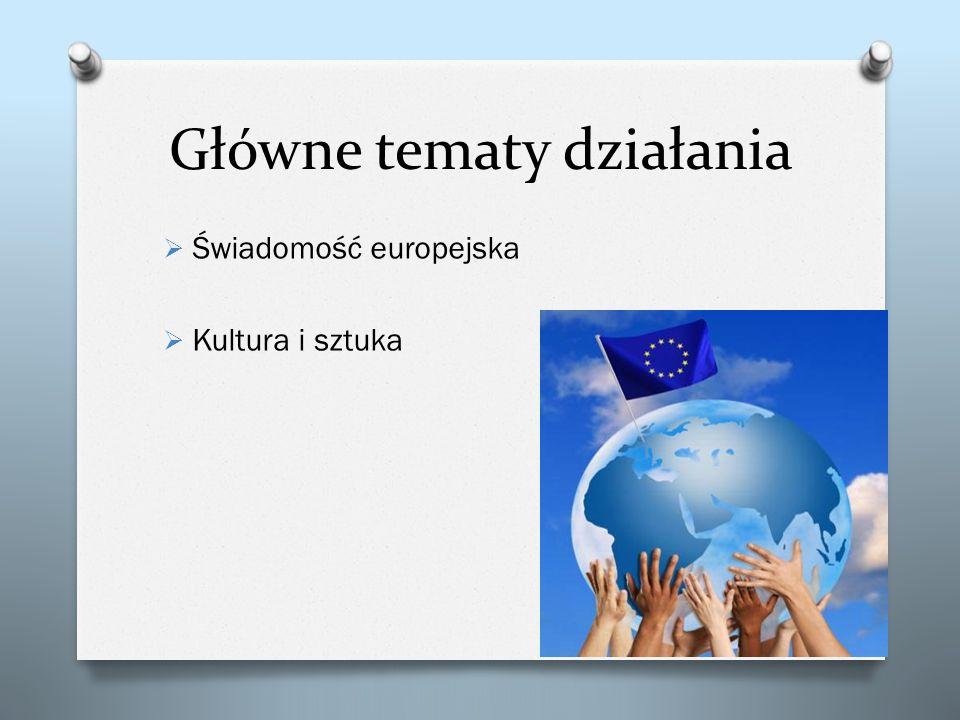 Główne tematy działania Świadomość europejska Kultura i sztuka