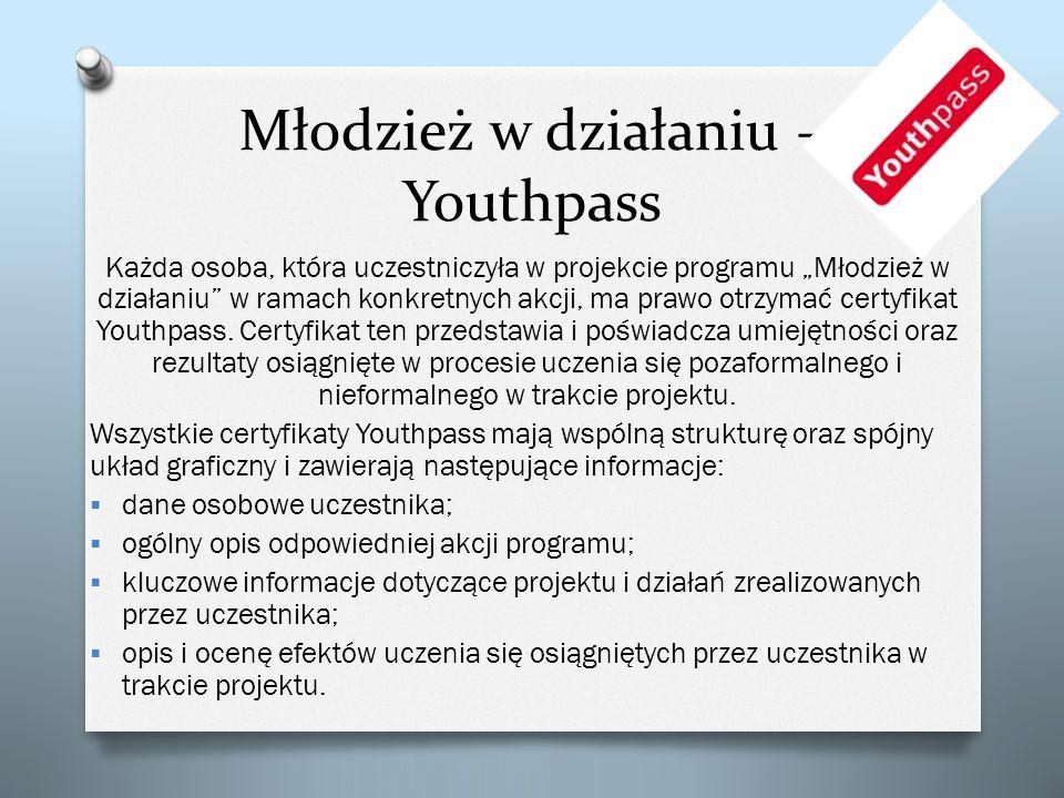 Młodzież w działaniu – Youthpass Każda osoba, która uczestniczyła w projekcie programu Młodzież w działaniu w ramach konkretnych akcji, ma prawo otrzy