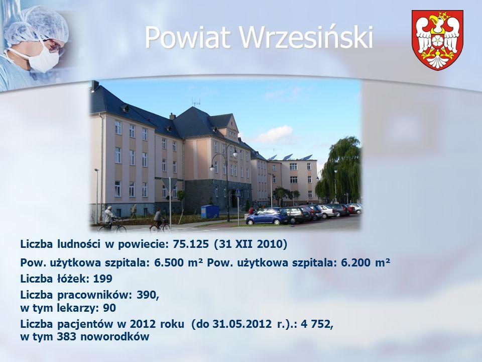 Powiat Wrzesiński We wrześniu 2009 roku Zarząd Województwa Wielkopolskiego przyznał dofinansowanie z Wielkopolskiego Regionalnego Programu Operacyjnego na rozbudowę wrzesińskiego szpitala (35,5 miliona złotych).