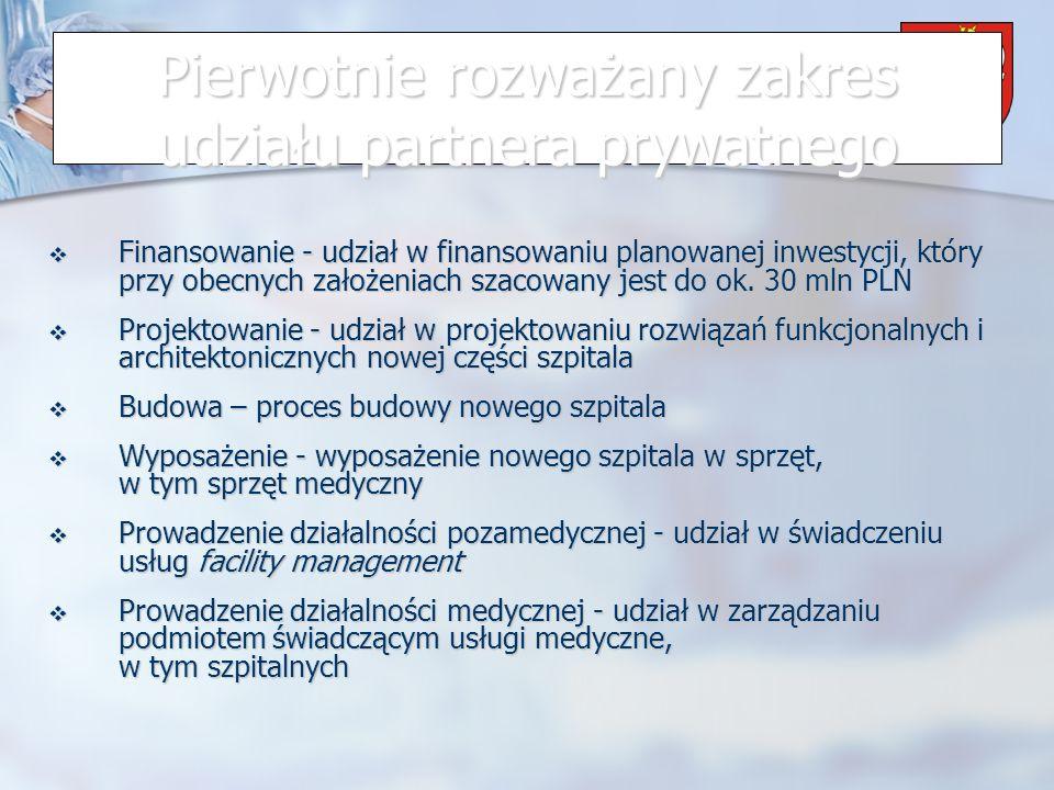 Powiat Wrzesiński Pierwotnie rozważany zakres udziału partnera prywatnego Finansowanie - udział w finansowaniu planowanej inwestycji, który przy obecnych założeniach szacowany jest do ok.
