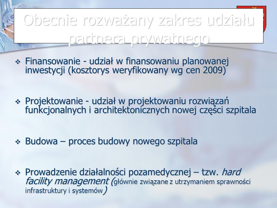 Powiat Wrzesiński Obecnie rozważany zakres udziału partnera prywatnego Finansowanie - udział w finansowaniu planowanej inwestycji (kosztorys weryfikowany wg cen 2009) Finansowanie - udział w finansowaniu planowanej inwestycji (kosztorys weryfikowany wg cen 2009) Projektowanie - udział w projektowaniu rozwiązań funkcjonalnych i architektonicznych nowej części szpitala Projektowanie - udział w projektowaniu rozwiązań funkcjonalnych i architektonicznych nowej części szpitala Budowa – proces budowy nowego szpitala Budowa – proces budowy nowego szpitala Prowadzenie działalności pozamedycznej – tzw.