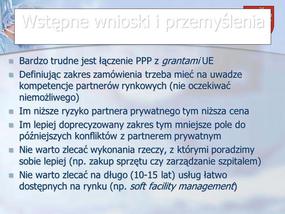 Powiat Wrzesiński Wstępne wnioski i przemyślenia Bardzo trudne jest łączenie PPP z grantami UE Bardzo trudne jest łączenie PPP z grantami UE Definiując zakres zamówienia trzeba mieć na uwadze kompetencje partnerów rynkowych (nie oczekiwać niemożliwego) Definiując zakres zamówienia trzeba mieć na uwadze kompetencje partnerów rynkowych (nie oczekiwać niemożliwego) Im niższe ryzyko partnera prywatnego tym niższa cena Im niższe ryzyko partnera prywatnego tym niższa cena Im lepiej doprecyzowany zakres tym mniejsze pole do późniejszych konfliktów z partnerem prywatnym Im lepiej doprecyzowany zakres tym mniejsze pole do późniejszych konfliktów z partnerem prywatnym Nie warto zlecać wykonania rzeczy, z którymi poradzimy sobie lepiej (np.