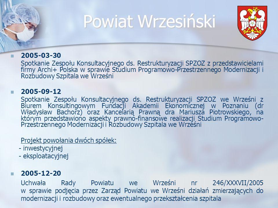 Powiat Wrzesiński Założenia wybranego modelu Szpital w uzgodnieniu z Powiatem określa tzw.