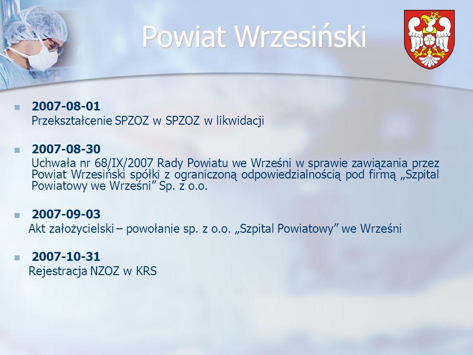 Powiat Wrzesiński 2007-11-02 Zgromadzenie Wspólników w sprawie uchwalenia Statutu NZOZ Szpital Powiatowy we Wrześni 2007-11-08 Spotkanie Zespołu Konsultacyjnego ds.