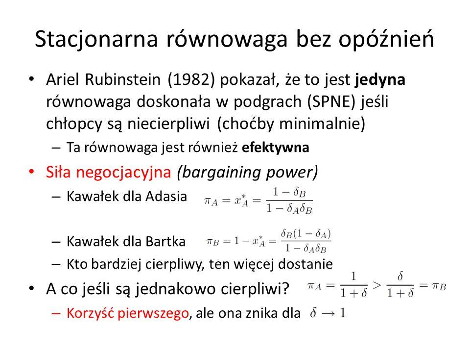 Ariel Rubinstein (1982) pokazał, że to jest jedyna równowaga doskonała w podgrach (SPNE) jeśli chłopcy są niecierpliwi (choćby minimalnie) – Ta równow