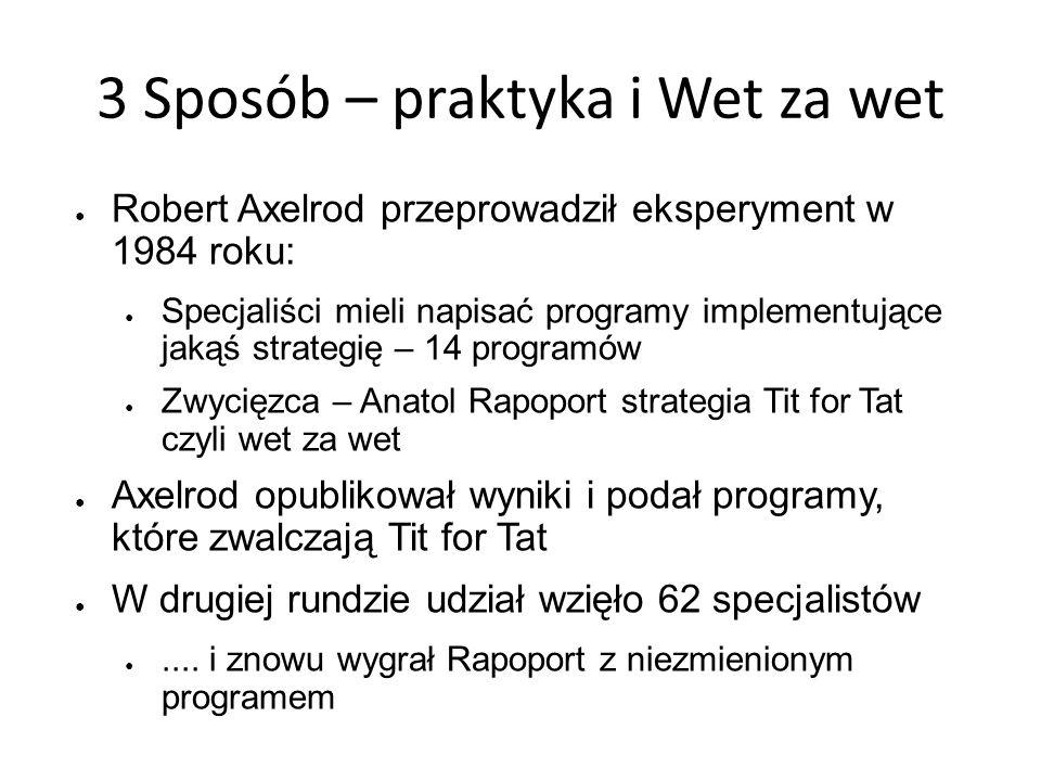 3 Sposób – praktyka i Wet za wet Robert Axelrod przeprowadził eksperyment w 1984 roku: Specjaliści mieli napisać programy implementujące jakąś strateg