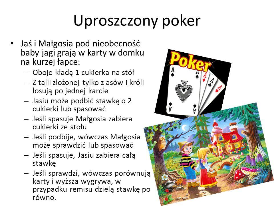 Uproszczony poker Jaś i Małgosia pod nieobecność baby jagi grają w karty w domku na kurzej łapce: – Oboje kładą 1 cukierka na stół – Z talii złożonej