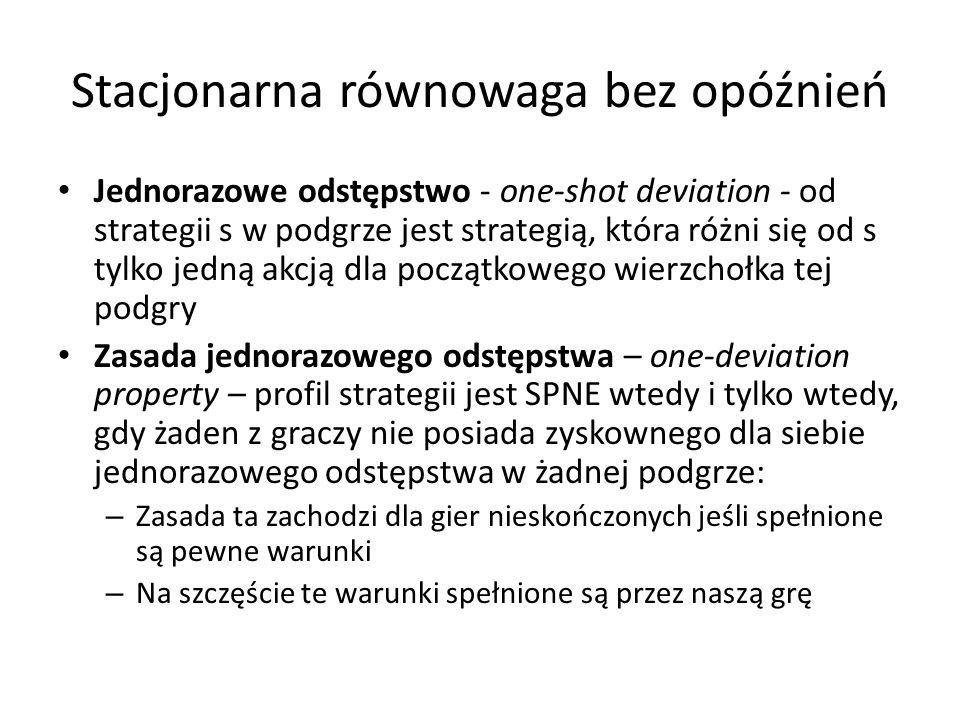 Stacjonarna równowaga bez opóźnień Jednorazowe odstępstwo - one-shot deviation - od strategii s w podgrze jest strategią, która różni się od s tylko j