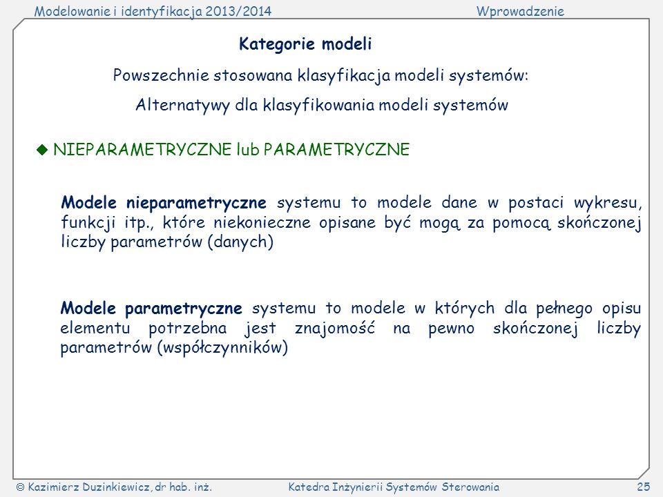 Modelowanie i identyfikacja 2013/2014Wprowadzenie Kazimierz Duzinkiewicz, dr hab. inż.Katedra Inżynierii Systemów Sterowania25 Kategorie modeli Powsze