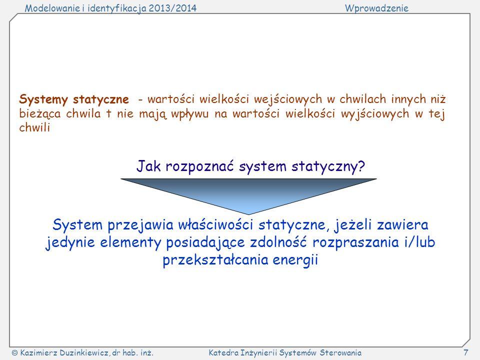Modelowanie i identyfikacja 2013/2014Wprowadzenie Kazimierz Duzinkiewicz, dr hab. inż.Katedra Inżynierii Systemów Sterowania7 Systemy statyczne - wart