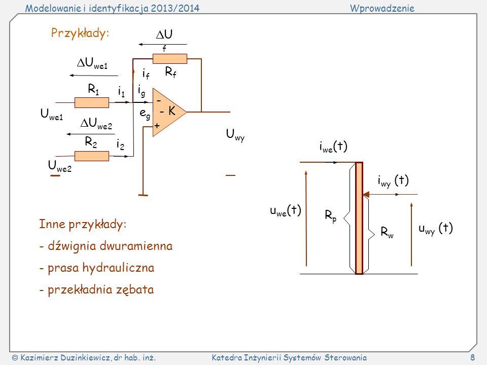 Modelowanie i identyfikacja 2013/2014Wprowadzenie Kazimierz Duzinkiewicz, dr hab. inż.Katedra Inżynierii Systemów Sterowania8 Przykłady: - + U f RfRf