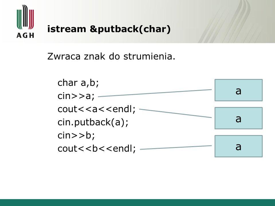 istream &putback(char) Zwraca znak do strumienia. char a,b; cin>>a; cout<<a<<endl; cin.putback(a); cin>>b; cout<<b<<endl; a a a