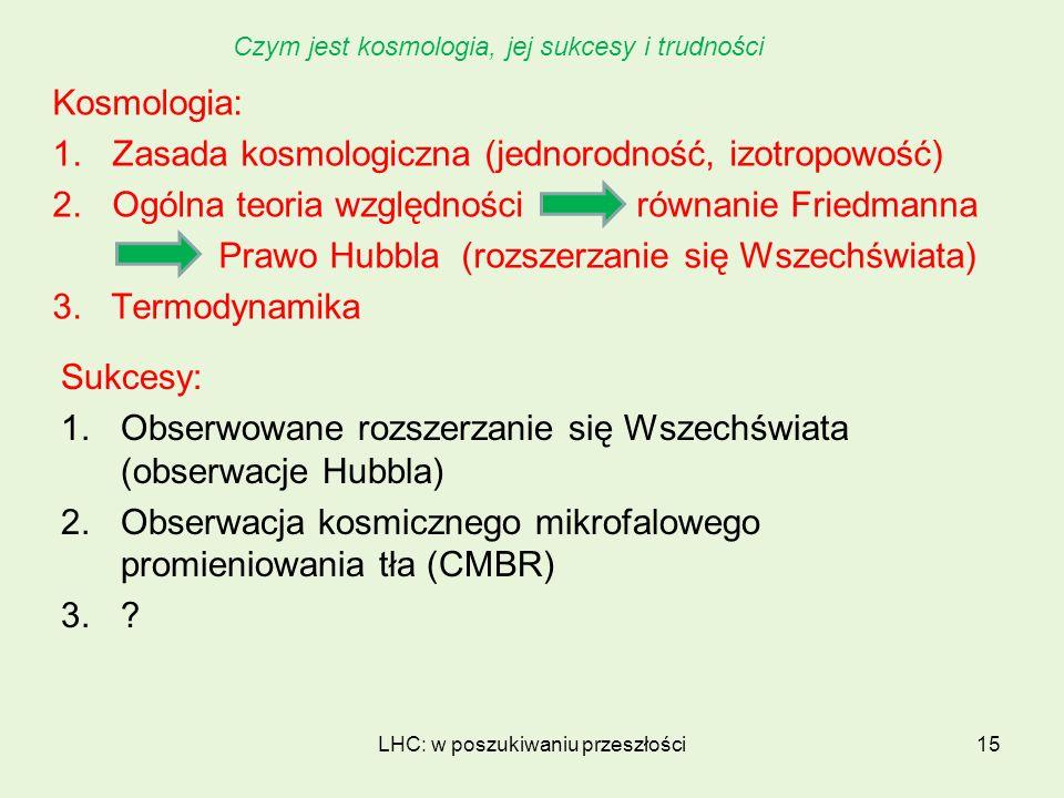 Kosmologia: 1.Zasada kosmologiczna (jednorodność, izotropowość) 2.Ogólna teoria względności równanie Friedmanna Prawo Hubbla (rozszerzanie się Wszechś