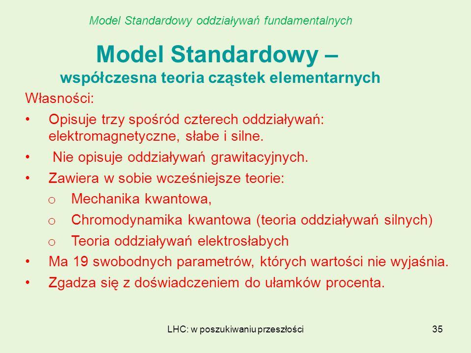 LHC: w poszukiwaniu przeszłości35 Model Standardowy – współczesna teoria cząstek elementarnych Własności: Opisuje trzy spośród czterech oddziaływań: e