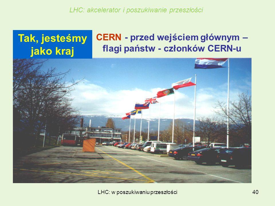 LHC: w poszukiwaniu przeszłości40 CERN - przed wejściem głównym – flagi państw - członków CERN-u Tak, jesteśmy jako kraj LHC: akcelerator i poszukiwan
