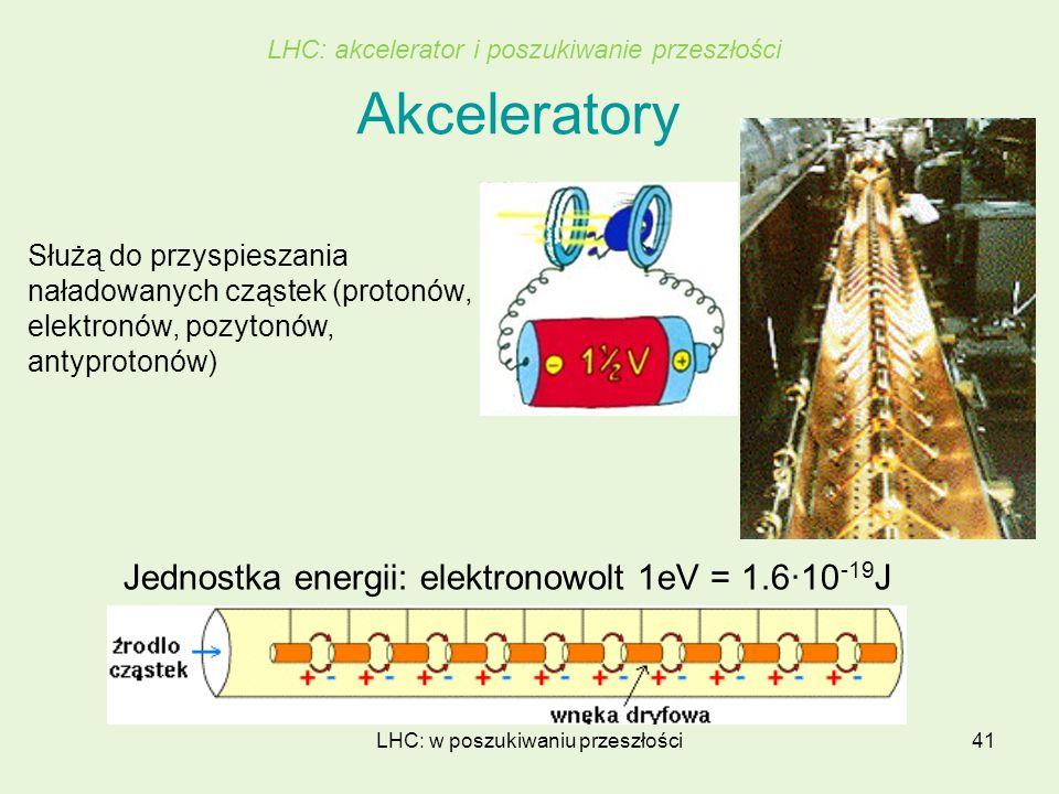 LHC: w poszukiwaniu przeszłości41 Akceleratory Jednostka energii: elektronowolt 1eV = 1.6·10 -19 J LHC: akcelerator i poszukiwanie przeszłości Służą d