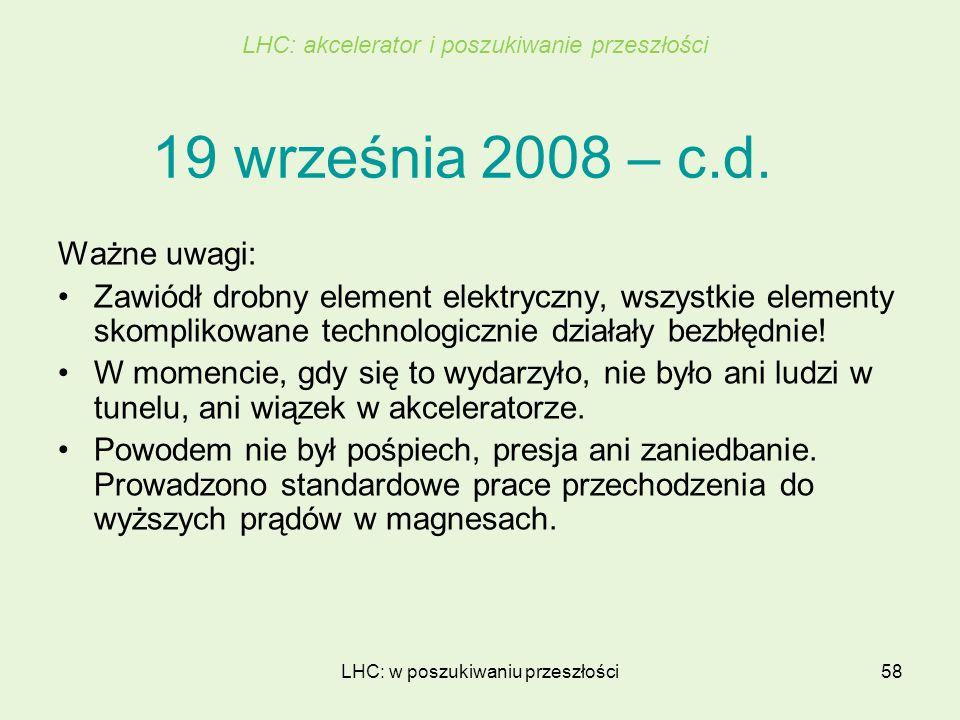LHC: w poszukiwaniu przeszłości58 19 września 2008 – c.d. Ważne uwagi: Zawiódł drobny element elektryczny, wszystkie elementy skomplikowane technologi