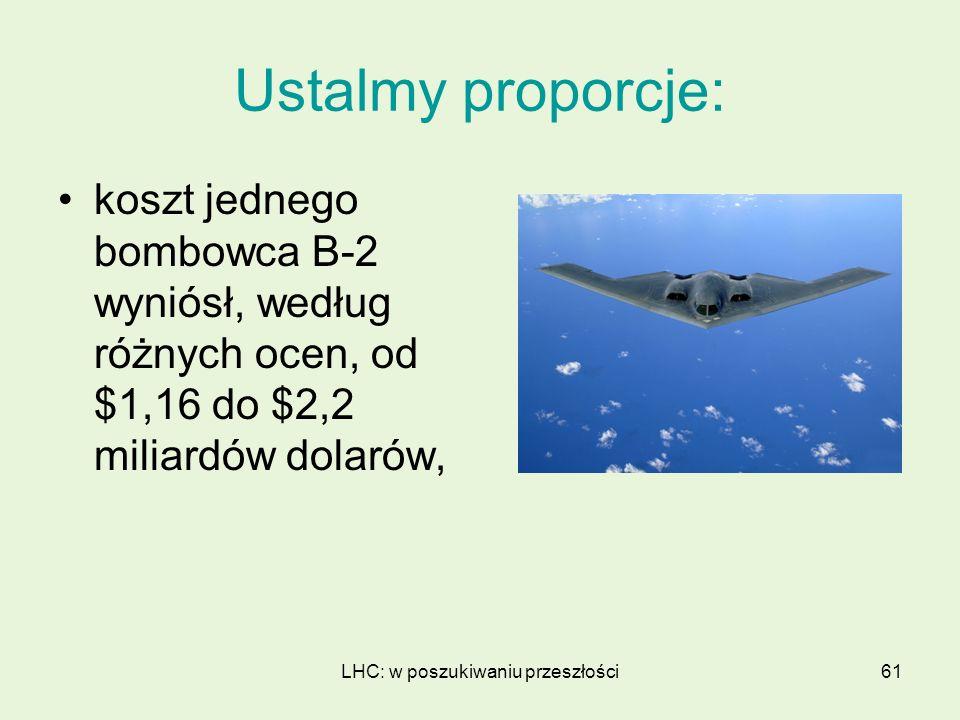 LHC: w poszukiwaniu przeszłości61 Ustalmy proporcje: koszt jednego bombowca B-2 wyniósł, według różnych ocen, od $1,16 do $2,2 miliardów dolarów,
