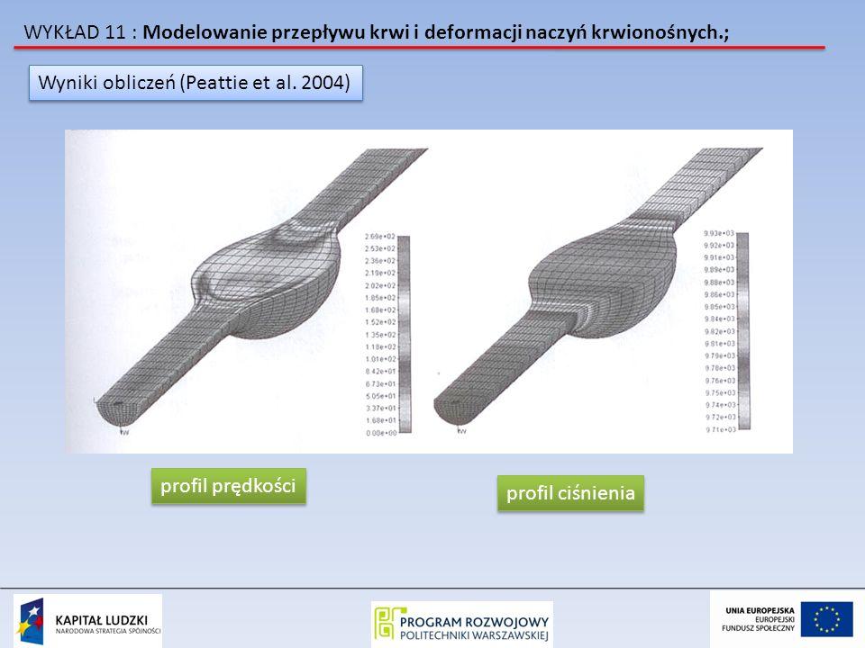 WYKŁAD 11 : Modelowanie przepływu krwi i deformacji naczyń krwionośnych.; Wyniki obliczeń (Peattie et al. 2004) profil prędkości profil ciśnienia