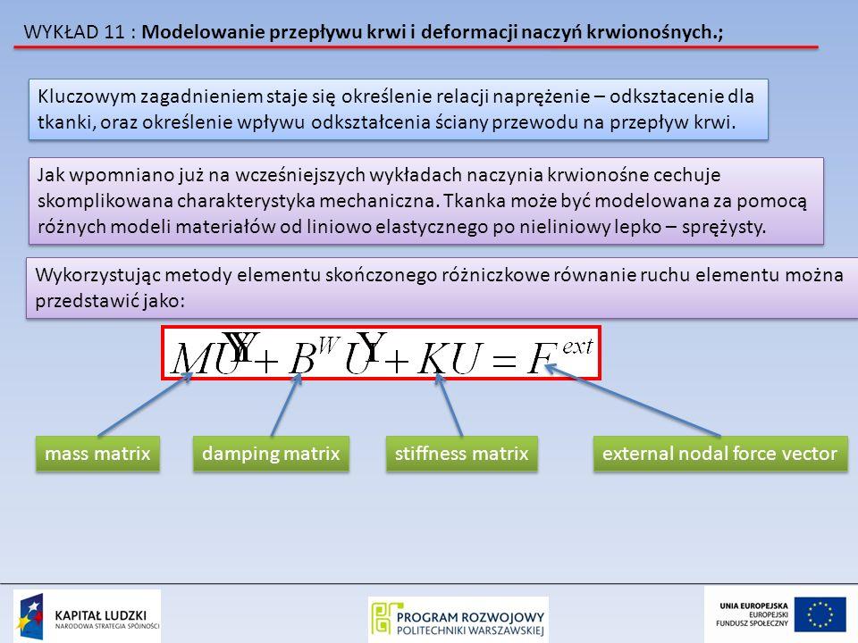 WYKŁAD 11 : Modelowanie przepływu krwi i deformacji naczyń krwionośnych.; Kluczowym zagadnieniem staje się określenie relacji naprężenie – odksztaceni