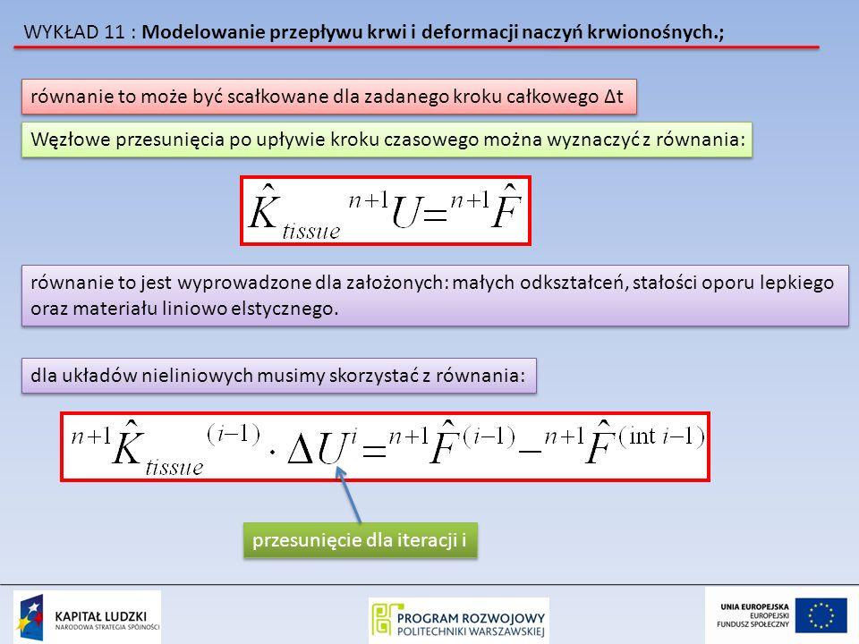 WYKŁAD 11 : Modelowanie przepływu krwi i deformacji naczyń krwionośnych.; równanie to może być scałkowane dla zadanego kroku całkowego Δt Węzłowe prze